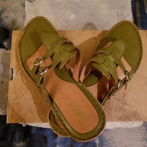 Born Olive Green Leather Sandals